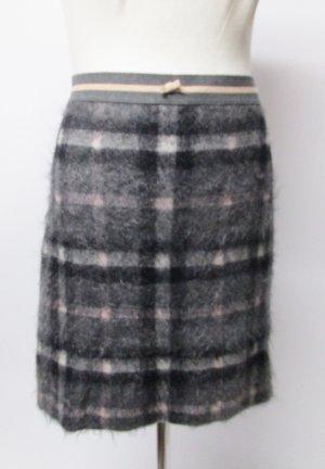 Flauschig Stretch Minirock Größe M 40 Materialmix Karo Schwarz Grau Rosa Schleife Rock Warm Wolle