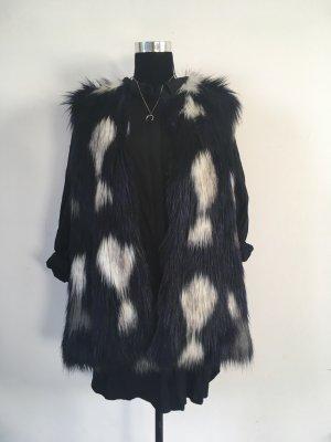 Flauschige Fake Fur Weste M/L schwarz Lila weiß Fellweste Webpelz Jacke Pieces wie Neu