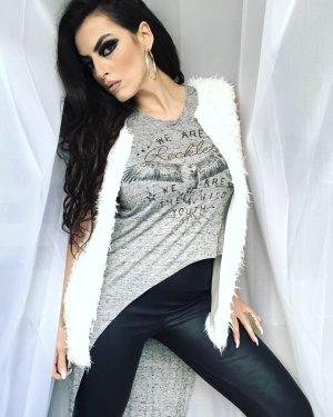 flauschige faux-fur weste in weiß