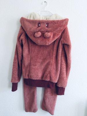 Flauschige Jacke mit Bärchenkapuze