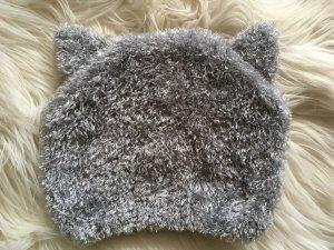 Flauschige Mütze mit Ohren von H&M, grau, NEU!