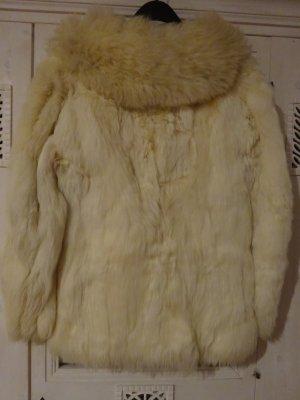 Giacca di pelliccia bianco sporco-crema Lana d'alpaca