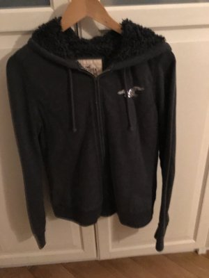 Hollister Veste sweat argenté-gris anthracite coton