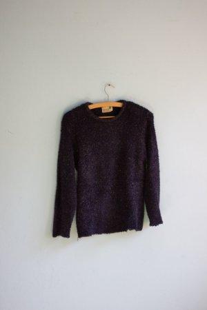 Flauschiger Pullover mit Glitzer dunkelblau retro