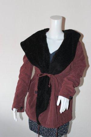 Flauschiger Übergangsmantel mit übergroßer Kapuze Vintage Fake Fur