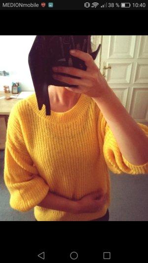 H&M Pull en crochet jaune fluo-jaune viscose