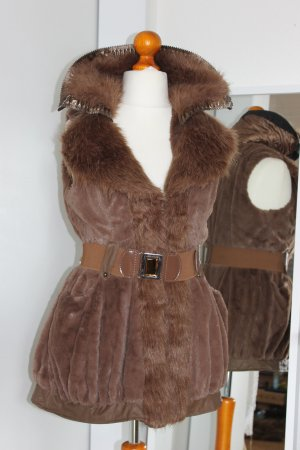 Fur vest cognac-coloured synthetic material