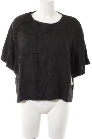 Flaxxxs Blusa de lino negro estilo gitano