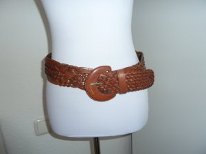 Braided Belt brown red leather