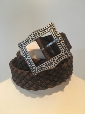 Braided Belt silver-colored-black brown leather