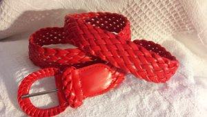 Flechtgürtel geflochtener Gürtel Rot Vintage Accessoires 70er Jahre Chic
