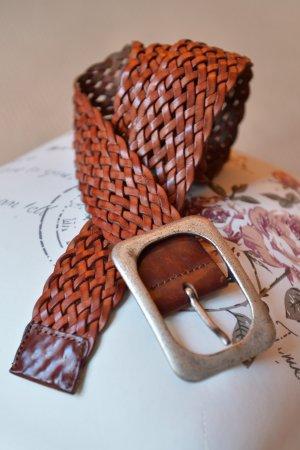 Flechtgürtel Gr.85 Ledergürtel breiter Gürtel Rotbraun Leder Metallschnalle matt