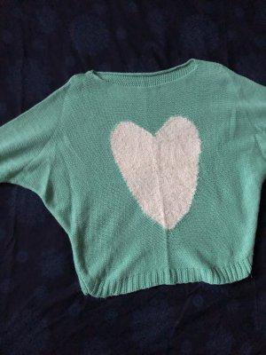 Oversized Sweater white-turquoise