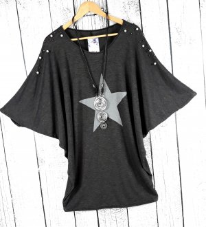 Fledermaus Pullover Oversize Pulli mit Stern anthrazit grau Perlen Gr. 44 46 48