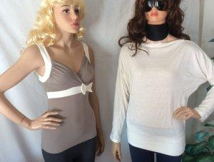 Ann Christine Maglione twin set bianco-marrone-grigio Viscosa