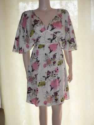 Fledermausärmel Kleid Tunika aus Satin geblümt