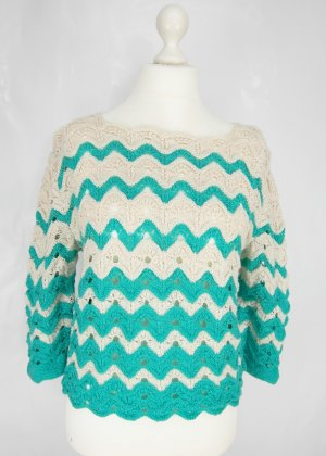 Crochet Sweater white-turquoise cotton