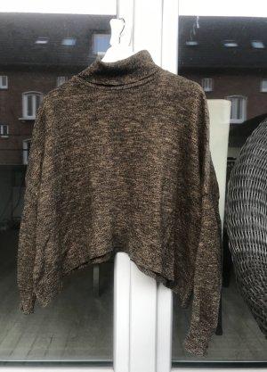 Zara Knit Turtleneck Shirt ocher-bronze-colored