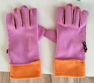Fleece handschoenen roze-oranje
