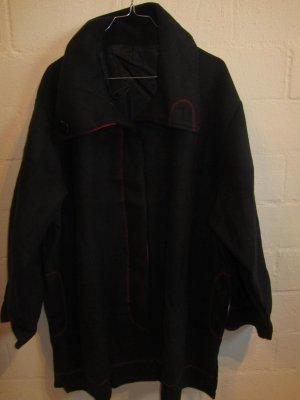 FLEECEJACKE: schwarz mit roten Details, Gr. 54/56, NEU