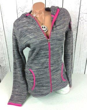 Fleecejacke Sweatjacke Fleece mit Kapuze in grau pink Gr. 36 38