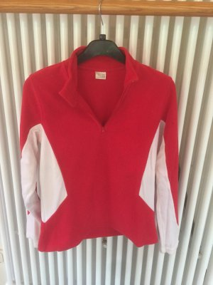Fleece trui rood-wit