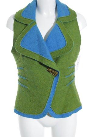 Smanicato in pile verde prato-blu fiordaliso stile casual