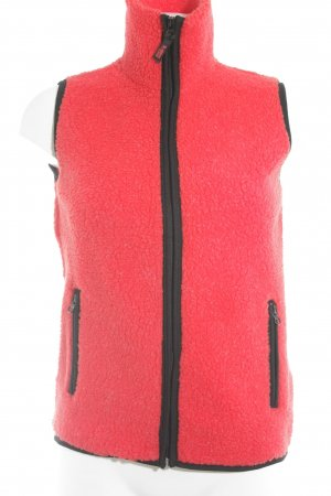 Fleece vest rood-zwart colour blocking casual uitstraling