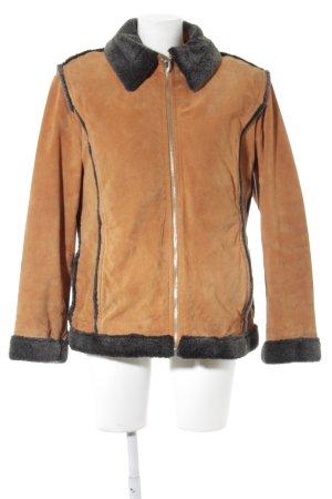 Vliegeniersjack oranje-donkergrijs straat-mode uitstraling
