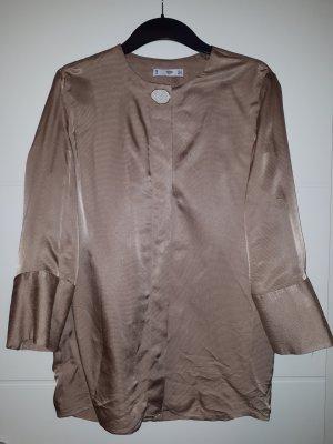 Mango Suit Blusa brillante marrón Viscosa