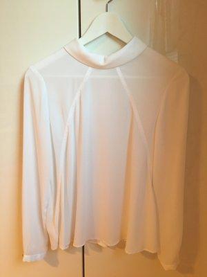 Fließende Bluse mit Schmuckknöpfen am Rücken XS weiß