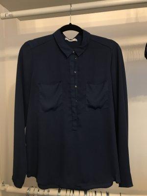 Mango Suit Glanzende blouse donkerblauw-blauw