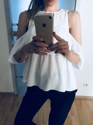 Fließende Off-Shoulder Bluse in weiss von Asos gr. Xxs