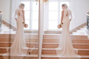 Fließende Seide Pronovias Brautkleid Größe 36 elegant/stilvoll/schlicht