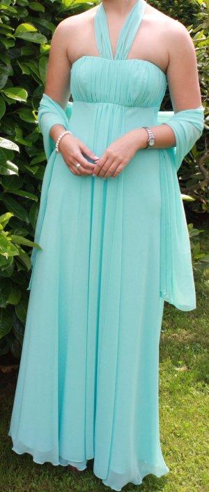 fließendes langes Abendkleid in türkis/hellem blau