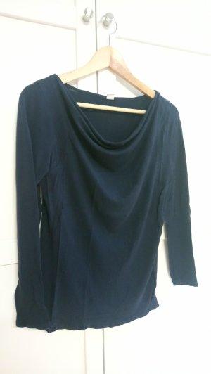 s.Oliver Camisa con cuello caído azul oscuro