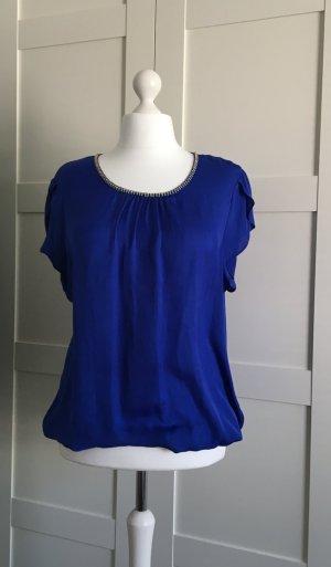 Fließendes Shirt mit Lurexblende - blau