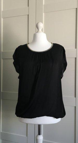 Fließendes Shirt mit Lurexblende - schwarz