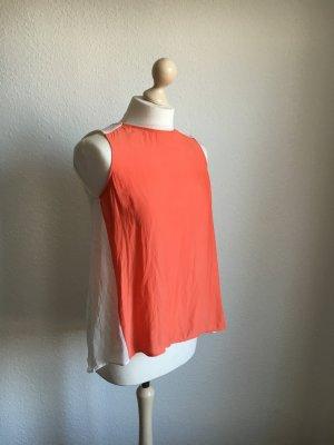 Fließendes top orange weiß colorblock xs zara Blogger