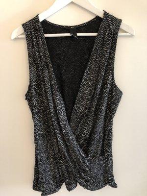 H&M Top collo ad anello blu scuro-grigio chiaro