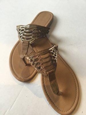 Sandalo infradito marrone-oro