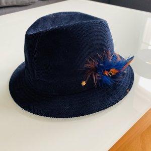 flip*flop Damen Trachtenhut Hut aus Cord in blau mit Federn Gr. M Oktoberfest Wiesn