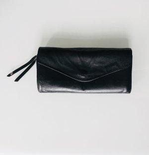 flip*flop Portemonnaie Geldbeutel aus schwarzem Leder mit lila-violettem Innenfutter