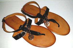 Flip Flop Sandale, schwarz/rose-gold, Gr.40