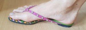 Flip Flop Sandalen aus Leder von Dolce & Gabbana mit Kristallen