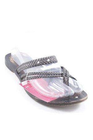 Flip Flop Sandalen schwarz-silberfarben Street-Fashion-Look