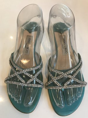 Jimmy Choo Toe-Post sandals turquoise-silver-colored