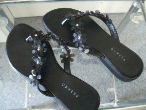 Pesaro High-Heeled Toe-Post Sandals black-silver-colored imitation leather