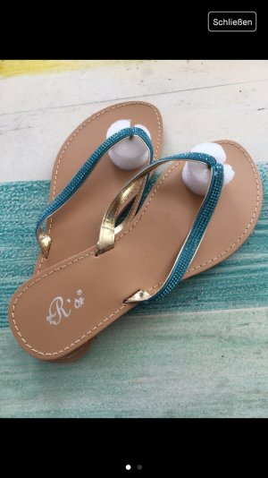 Flip-Flop Sandals brown-light blue