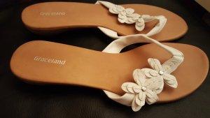 Flip Flops in weiß mit Blumen - Größe 39